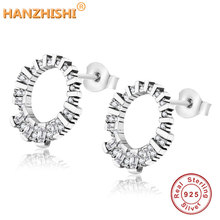 2019 Winter Collection New Dazzling CZ Stud Earrings For Women Authentic 925 Sterling Silver Earrings Gift For Christmas Day