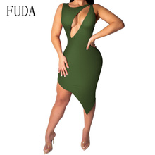 FUDA Hollow Out Summer Dresses Army Green Backless Sleeveless Bodycon Bandage Dress Sexy Night Club Party Women Dress цена и фото