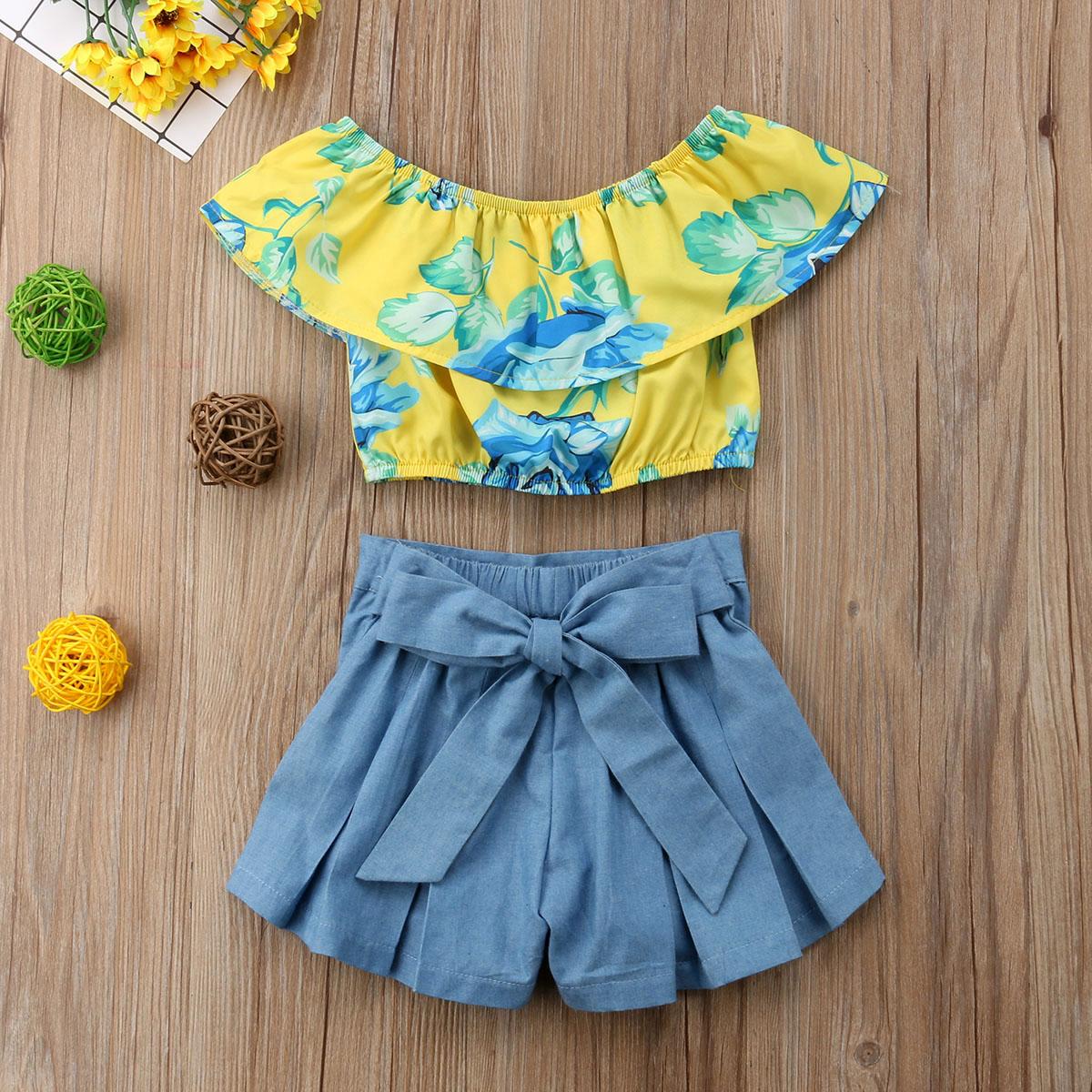 Summer Flower Baby Girl Kids Clothing Set Off Shoulder Tops+ Bow Denim Shorts Pants Outfits Child Clothes Set