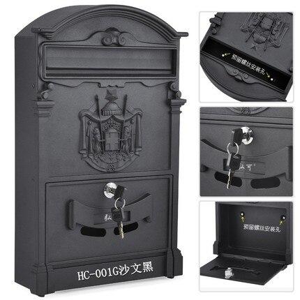 Винтажная коробка с буквами, Открытый запираемый безопасный почтовый ящик для газет, креативный сад, ретро почтовый ящик с литой алюминиево... - 4