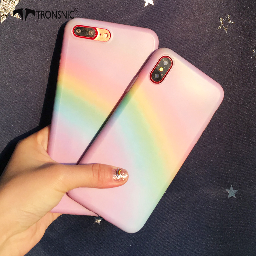 Tronsnic Colorful Phone Case For iPhone 6 6s Plus Rainbow Cute Soft Case For iphone 6s Plus TPU Back Cover Bags Capa Pink Korean