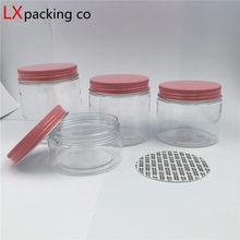 30 adet ücretsiz kargo 50 100 150 180 200 250 ML şeffaf plastik ambalaj şişeleri pembe alüminyum kapaklı baharat konteyneri 2 3 5 6 OZ bankası
