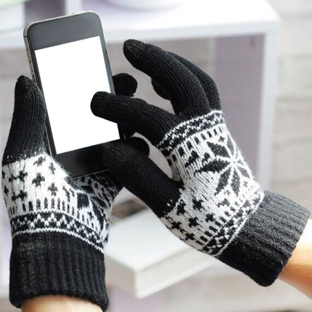 e5b6b073f Women Fashion Warm Winter Snowflake Finger Mittens Thick Gloves Wool Knitted  Fleece Screen Touchable Gloves For