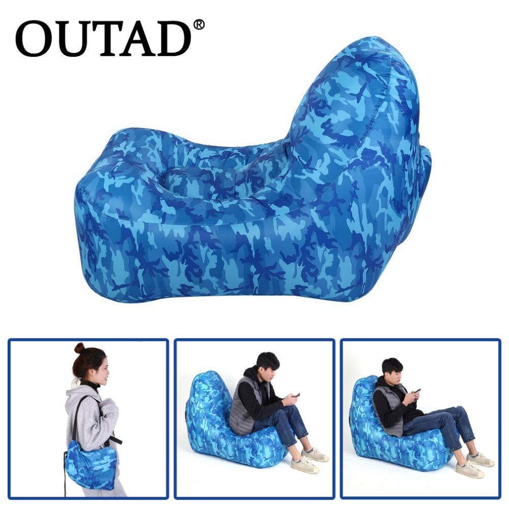 OUTAD Portable Lazy Lounger Chair Fast Inflatable Sofa Indoor Outdoor Tool Sleeping Air Couch for Camping Beach Park Wind Bed