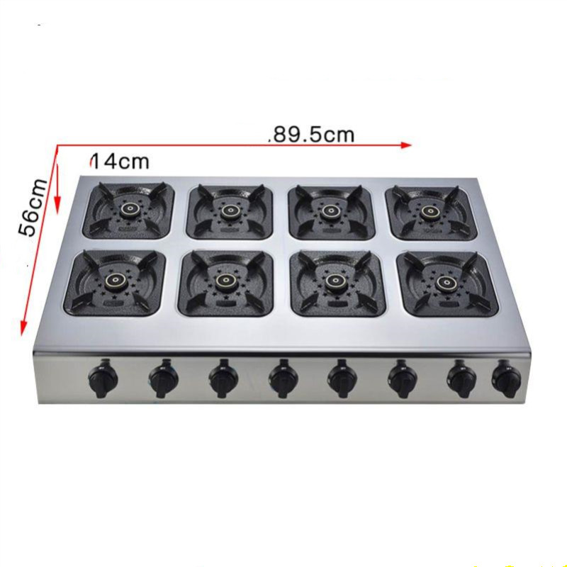 Commercial Dual-cooker Liquefied Gas Cooktop Table Stove Domestic Spacing Gas Fire Multi Hob Straight Fire Stainless Steel Range