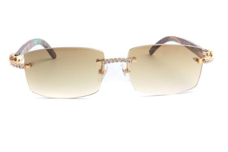 Cartier 3524012 New Diamond Peacock Wood Sunglasses Gold (2)