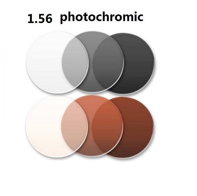 1.56 lentes fotosensibles gafas de miopía película de color se vuelve tenue té lentes de resina miopía