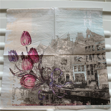 Decoupage servilleta de papel de mesa elegante tejido vintage toalla rojo púrpura tulipán Iglesia cumpleaños boda hogar hermosa decoración 20