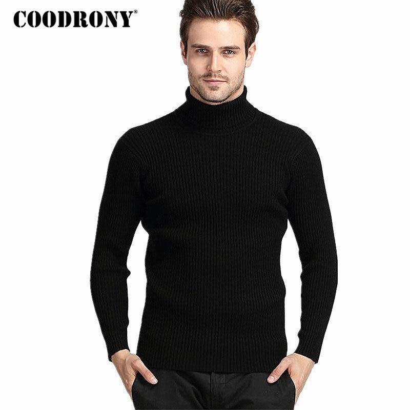 COODRONY Inverno Cashmere Quente Grosso Homens Camisola de Gola Alta Mens Blusas Slim Fit Homens Pullover Malhas de Lã Clássico Puxar Homme