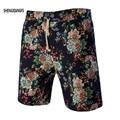 Moda Verão calções de Linho Dos Homens Causual Solto Praia Calças Curtas para Os Homens Da Moda Étnica Floral Calças Curtas Masculinas