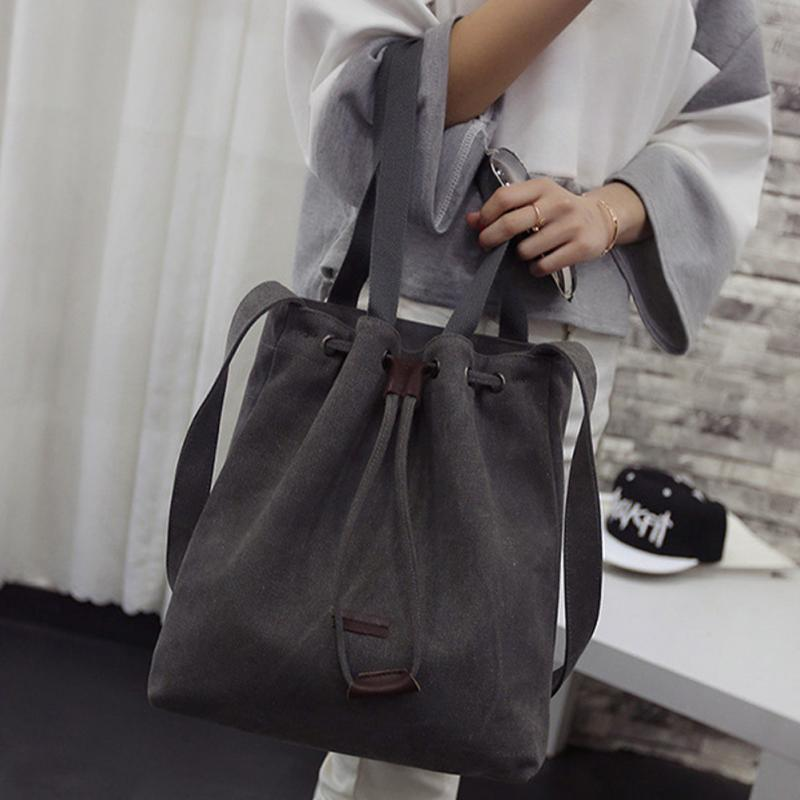 Women's Girls Solid Canvas Handbag Shoulder Messenger Bag Durable Tote Purse Bags