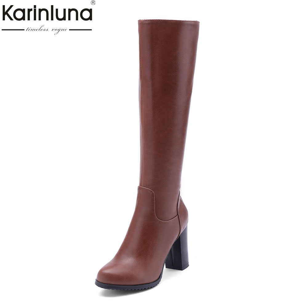 Karinluna 2018 Plus Size 34-43 best quality High Heels Zip Up Autumn winter Boots Woman Shoes Knee High Boots Shoes Woman jeans woman autumn winter 2018 girl elegant denim rompers womens jumpsuit with hoodies plus size streetwear leotard high quality