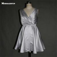 2018 Real Photos A Line V Neck Short Silver Evening Dresses Simple Elegant Evening Gowns