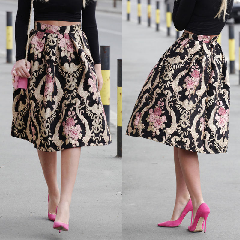 Fashion Women Lady Clothes Skirts Retro Floral High Waist Pleated Party Midi Skater Skirt Flower Vintage New