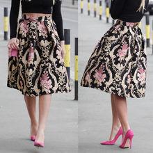 Модная женская одежда, юбки, Ретро стиль, цветочный рисунок, высокая талия, плиссированные, вечерние, миди, короткая юбка, цветок, Ретро стиль, новинка