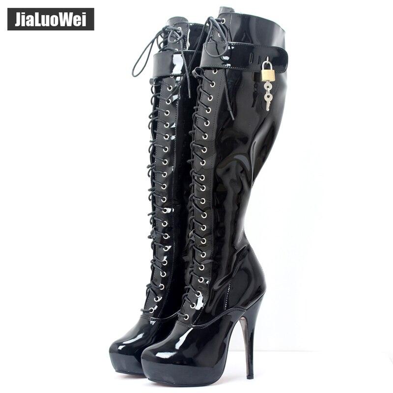 Jialuowei 2018 Nouveau 15 cm Haut talon plate-forme Bottes Femmes à Hauteur Du Genou En Cuir Verni Verrouillable lockpads Sexy Fetish Party chaussures de danse