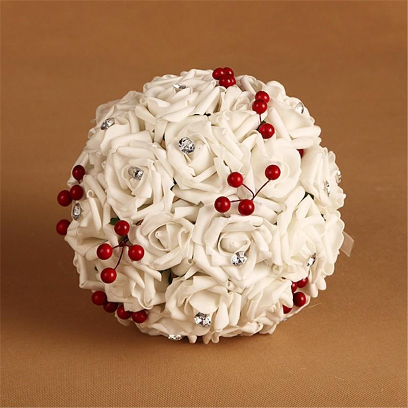 Artificial Cherry Decoration Bridesmaid Flower Wedding Bouquet Artificial Buquet de noivas Handmade Rose Crystal Bridal Bouquet  (6)