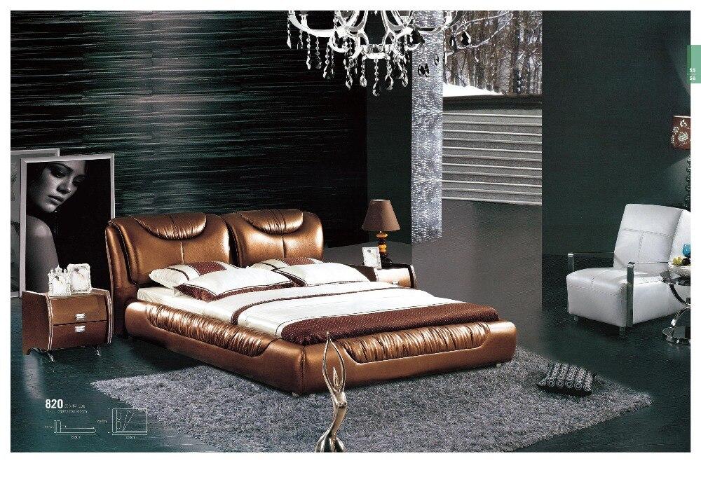 De luxe mobilier de chambre king size lit en cuir matériel en bois ...