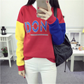 Autumn Hit Color Collage DON'T Letters Printed Hoodies for Women Harajuku Loose Fleece Female Sweatshirt Pullover Students Tops
