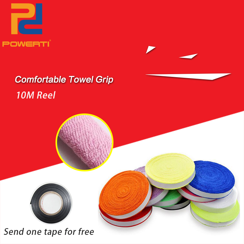 POWERTI 10m Pro Towel Sweatband Tennis Racket Overgrip Breathable Badminton Racket Sweatband Soft Sweat Grip