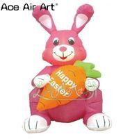 Пасхальное украшение открытый сидящий Надувной розовый кролик с морковкой для пасхальных мероприятий
