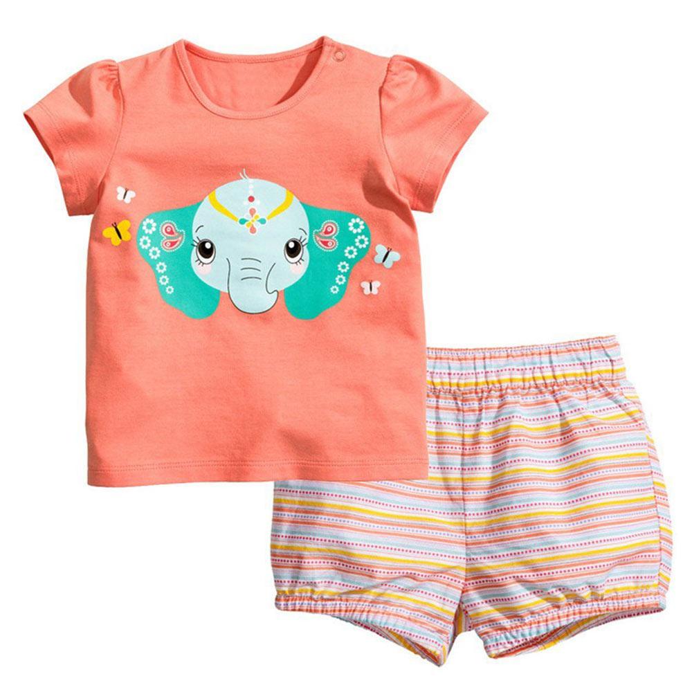 2 PCS Short Sleeve Cotton Baby Girls Pajamas Siut