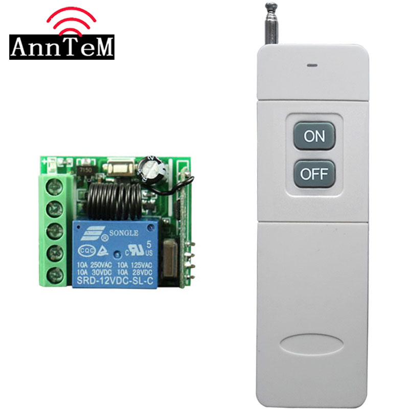 3000m Long Range Remote Control Switch DC 12V 1 CH 10A Relay Receiver Transmitter Learning Light Lamp Wireless Switch 433MHZ
