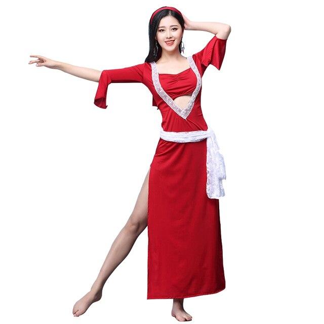 0ed9cbadb 2018 New Women Dancewear Belly Dance Clothes Baladi Dress saidi One-piece  Dresses Girls Practice