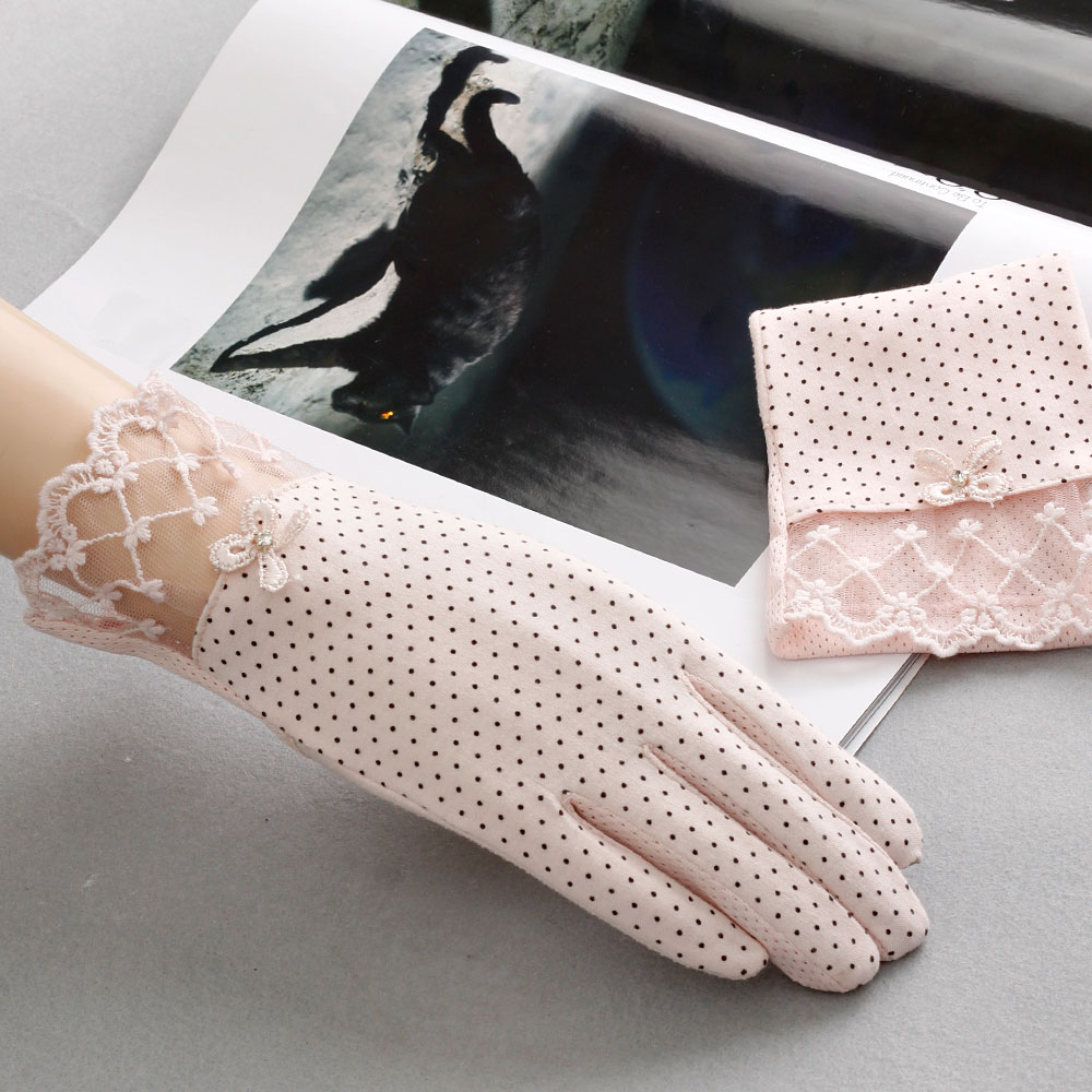 Fingerless gloves for sun protection - Lace Hollow Out Fingerless Gloves Skid Resistance Pattern Lace Fingerless Gloves Sun Protection Accessories Touch