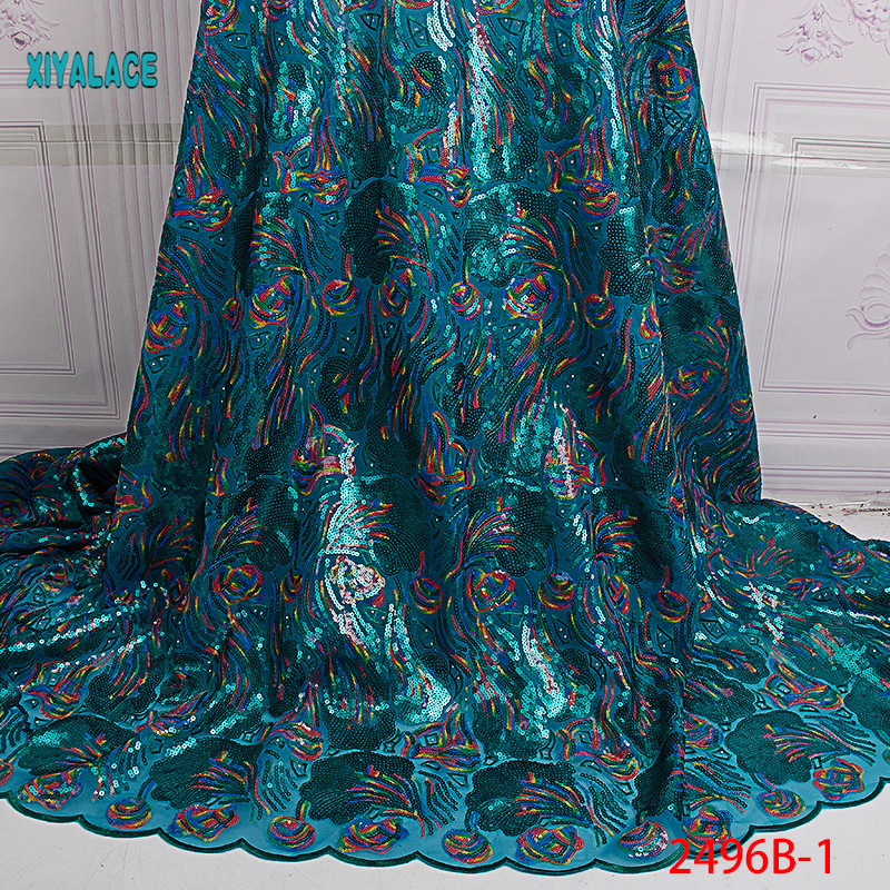 African Lace Fabric 2019 High Quality Nigerian Lace Fabrics Organza Sequins Beads Embroidery French Tulle Lace Fabric YA2496B-1