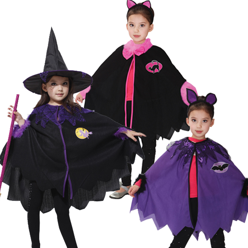 Children Halloween Witch Cloak Gown Robe Cosplay Costumes Coat Cloak Witch Hat Girl Party Costumes for kid Chirstmas dress up