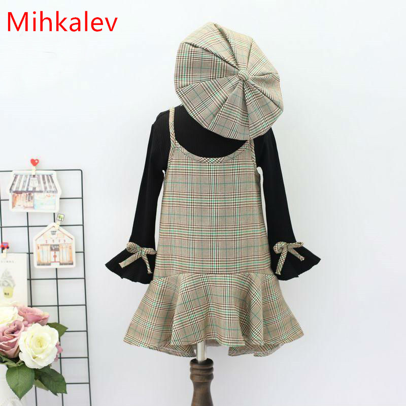 Mihkalev Princess kids clothes for girls clothing set long sleeve tops + dress + hat 3PCS children tracksuits for pary costume mihkalev striped long sleeve girl dress kids clothes 2017 autumn princess dres for girls party clothing children tutu dress