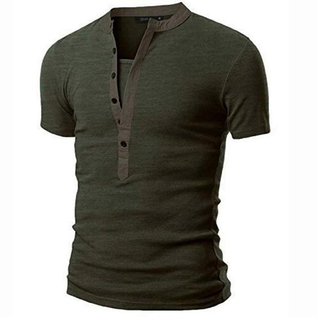 Camisa nova T Homens Tshirt Homme 2016 Da Forma Dos Homens Do Exército Verde Curto Henley Camisa de manga Da Marca Slim Fit V Tee Pescoço Camisa T-shirt Dos Homens