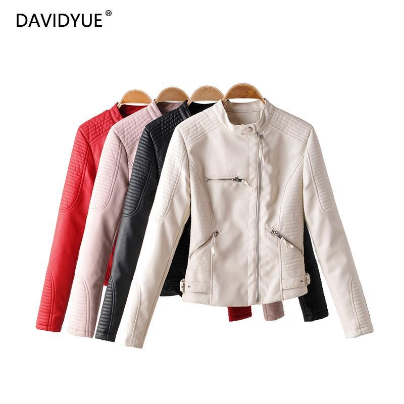 Black   leather   jacket women zipper faux   leather   coat white biker jacket long sleeve chaqueta mujer cuero streetwear 2019
