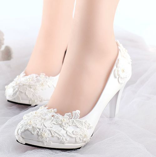 High Heels White Lace Wedding Shoes Women Handmade Plus