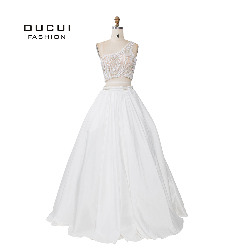 2019 White Formal   Prom     Dresses   Long Simple Beading Pearls With Sashes One Shoulder Gowns Two Pieces Women Party   Dress   OL103178