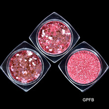 Hot Sale 3 Bottle/Set 1 Box 5ml Rose Pink Nail Glitter Powder Sequins 0.2-1.5mm Paillette Manicure Nail Art Decoration #GPFB025