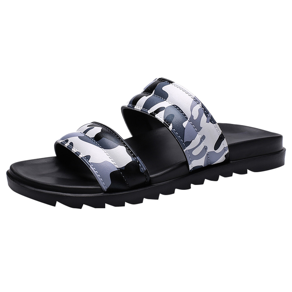 60827c073 SAGACE 2019 Men's summer beach slippers camouflage shoes men's slippers  flat shoes round head camouflage non-slip beach slippers ~ Hot Sale July  2019