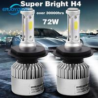 2 шт. 8000LM 72 Вт Светодиодная лампа H1 H3 H4 H7 H8 H11 9005 9006 для автомобильных фар 6500 к Противотуманные фары светодиодные лампы 9-32 в пост