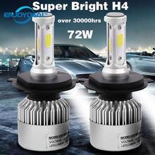 Lâmpada de led para farol de carro, 2 peças, 8000lm, 72w, cob, h1, h3, h4, h7, h8, h11, 9005 e 9006, luz de carro lâmpada 6500k farol de milha 9 32v