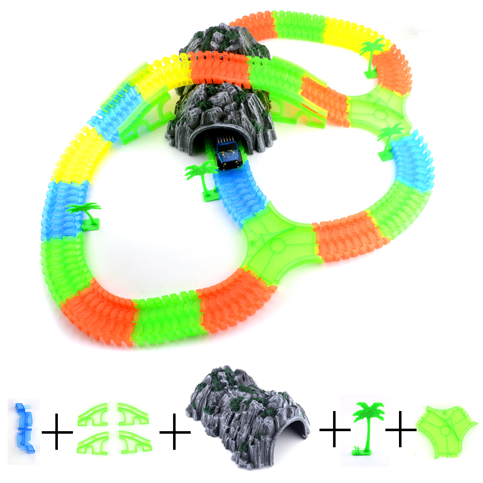 Glowing Magic Plastic Track LED Light Up Magic Electronics Car Accessories DIY Toy Glow Race Track Set Toys For Children