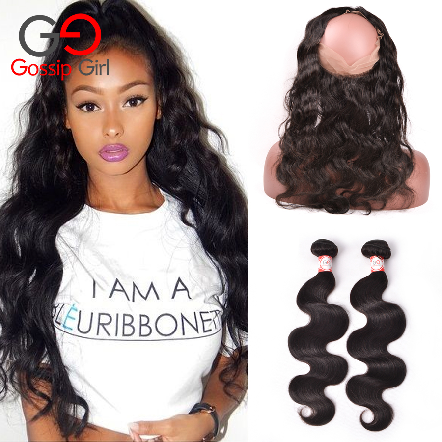 Peruvian Body Wave 360 Lace Frontal With Bundle pre plucked 360 frontal Human Hair Peruvian Virgin Hair With Closure Gossip Girl