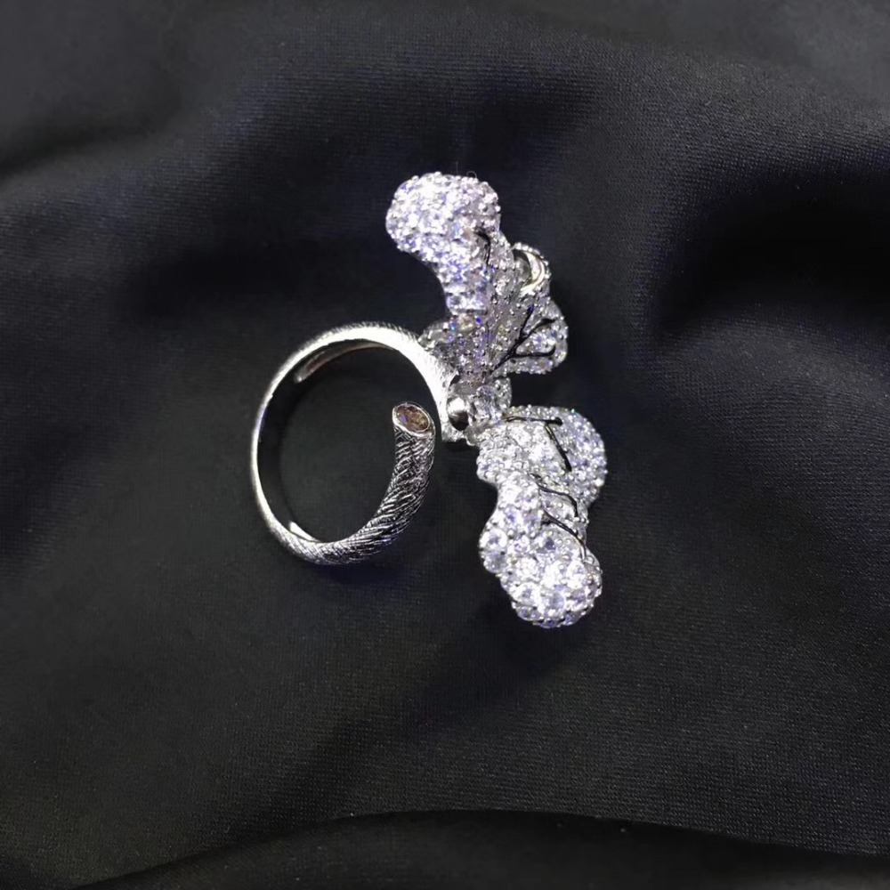925 sterling silver with cubic zircon butterfly ring cute adjustable size pave stone fashion women jewelry free shipping - 3