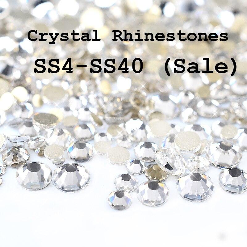 SS4-SS40 Crystal Clear Flatback No Hotfix Del Rhinestone Decoración de Uñas de C