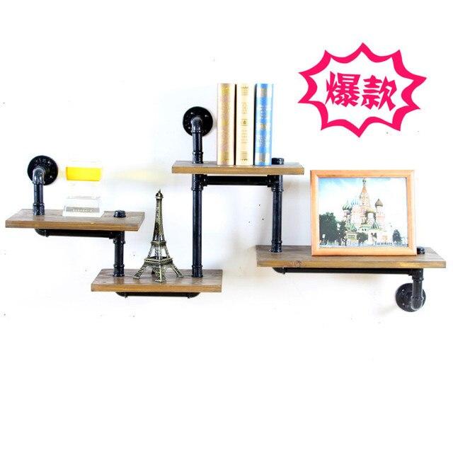 Retro industrial pipes iron wood wall shelf shelves shelving storage ...