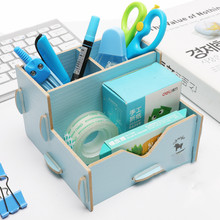 Multifunctional Wooden Pencil Holder Creative Cute Stationery Receipt Box Desktop Display Office Pencil Holder Large Capacity