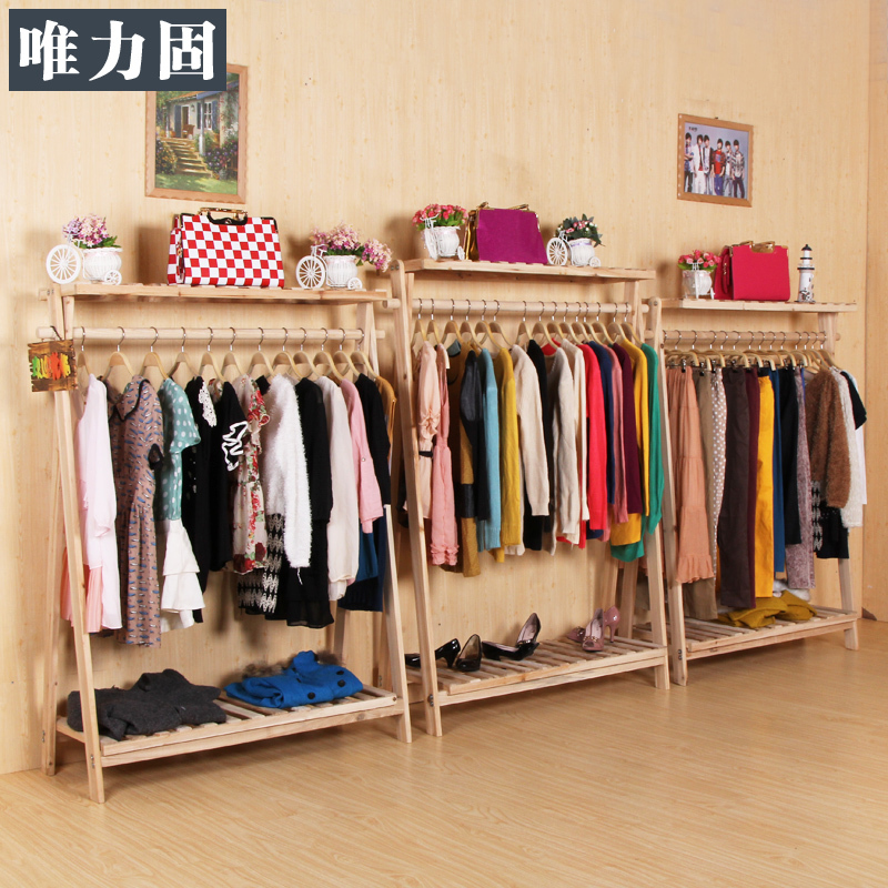 Solid wooden clothing rack clothing store clothing rack - Estantes de pared para ropa ...