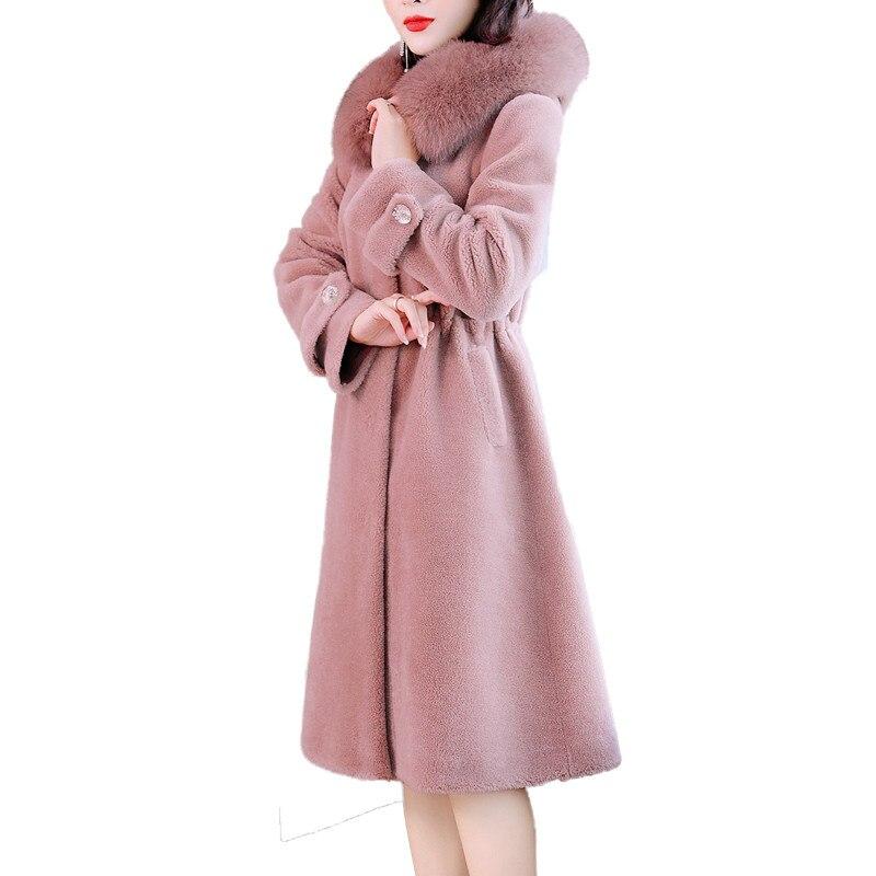 Véritable D'hiver Moutons Capuchon V287 Manteau Femelle De Renard Avec Fuy Chaud Pardessus Femmes Laine Long Fourrure Naturel Réel À D'agneau w6qxnEdH7F