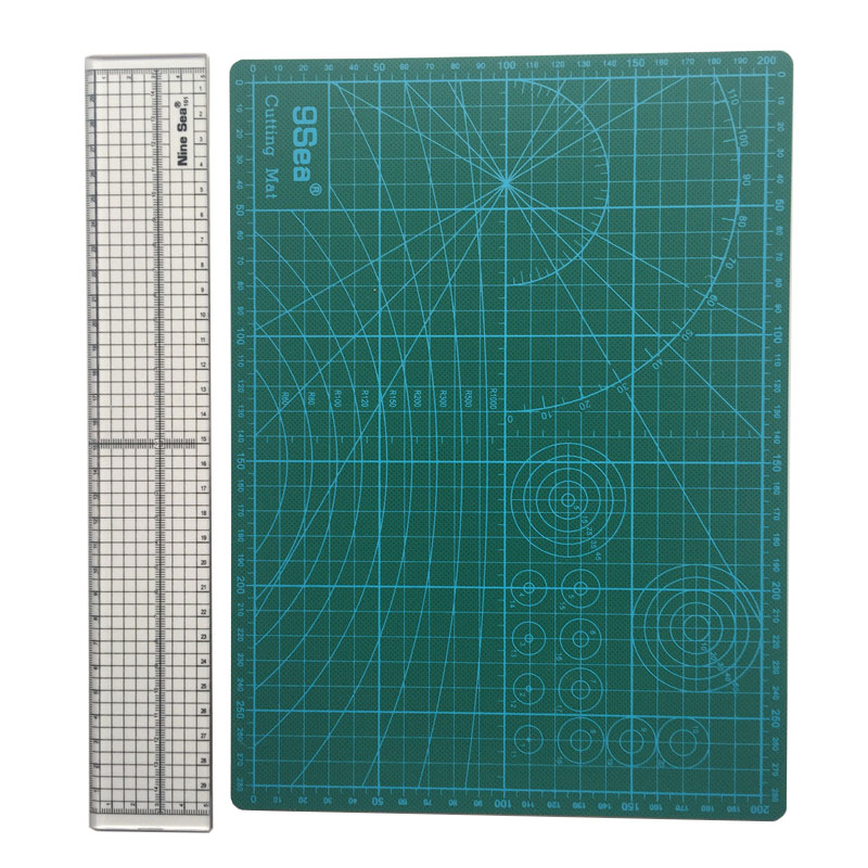 9 SEA 2pcs/lot Household Hand Sewing Supplies Acrylic Material 5 * 30cm Patchwork Ruler And A4 Cutting Mat Mixed Sales цена