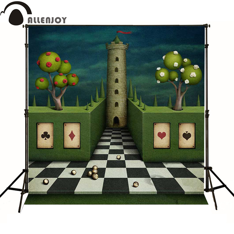 Allenjoy photo background Poker tree black and white castle vinyl baby backdrops for photography for photo studio 10x10ft